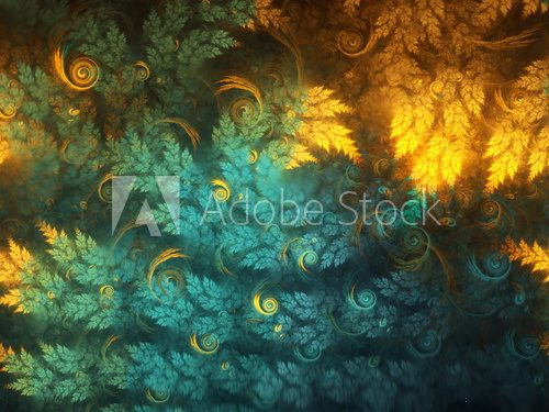 Abstract fractal tree branches with swirls, digital artwork for creative graphic design Abstrakcja Obraz