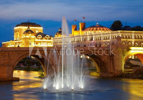 Macedonian's capital city Skopje. Old stone bridge  Architektura Plakat