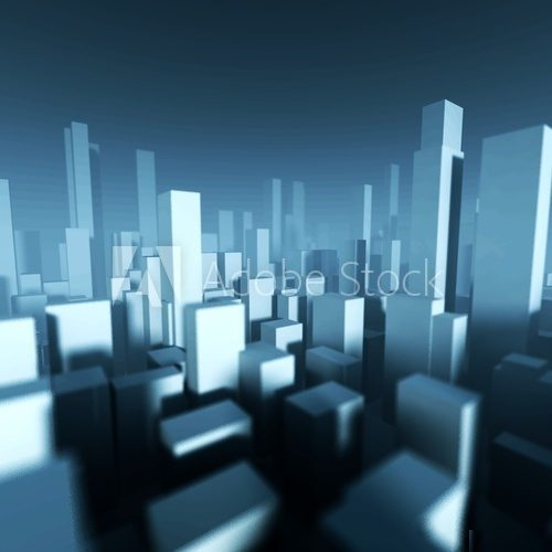 3d model of city downtown, Architectural concept  3D Fototapeta