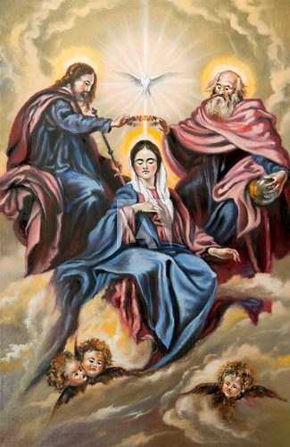 Sacred Trinity and the Mother of god  Olejne Obraz