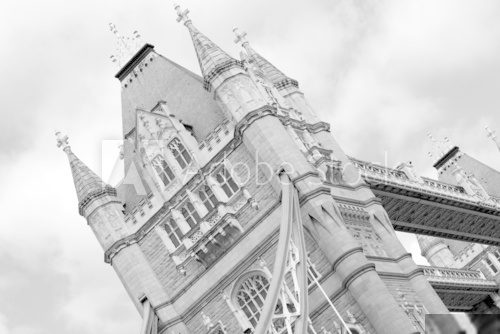 Tower Bridge London in Black and White  Czarno-Białe Fototapeta