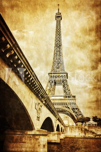 Eiffel tower vintage retro view from Seine river, Paris  Fototapety Sepia Fototapeta