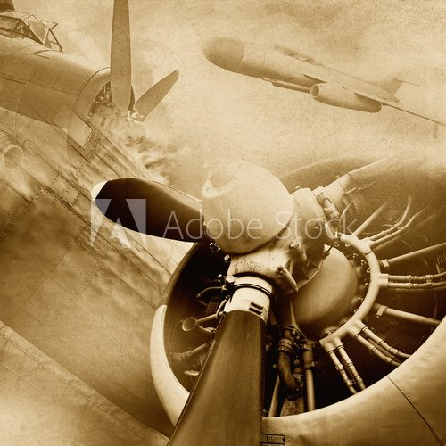 Retro aviation, vintage background  Fototapety Sepia Fototapeta