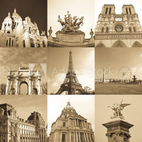 paris collage  Sepia Fototapeta
