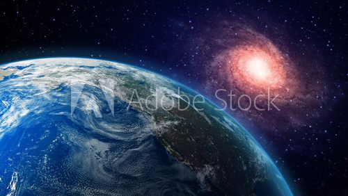Earth and a spiral galaxy in the background  Kosmos Fototapeta