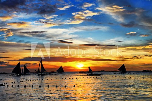 sailing on sunset. Boracay island,Philippines  Zachód Słońca Fototapeta