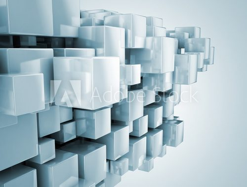 Abstract construction illustration - 3d cubes  Fototapety 3D Fototapeta