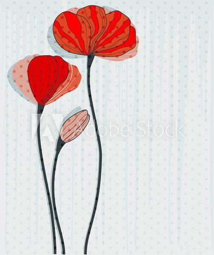 Greeting card with red poppies  Maki Fototapeta