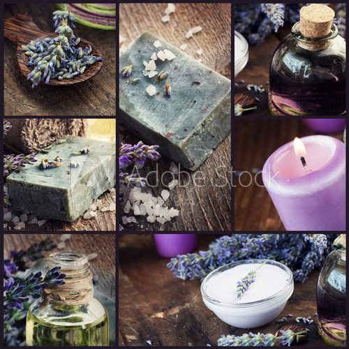 Lavender dayspa collage  Obrazy do Salonu SPA Obraz