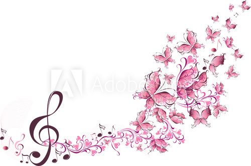 Musical notes with butterflies  Muzyka Obraz