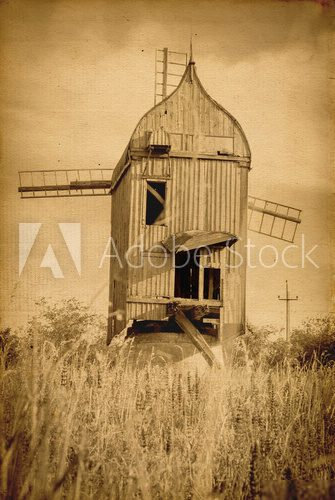 Old wooden windmill. vintage image of old buildings  Fototapety Sepia Fototapeta