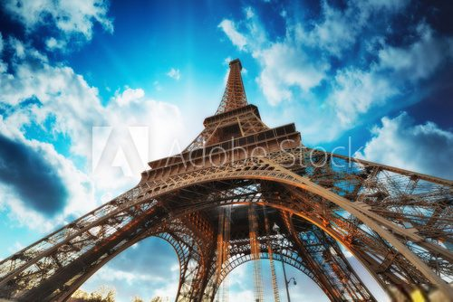 Paris Beautiful view of Eiffel Tower with sky sunset colors Wieża Eiffla Fototapeta