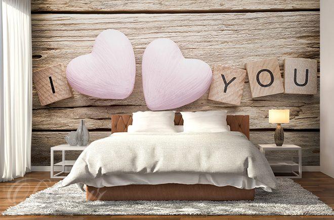 Miłość Wyryta W Drewnie Do Sypialni Fototapety Demur