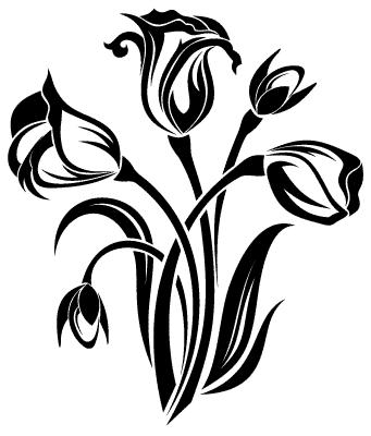 Florystyka dobrze stosowana kwiaty naklejka na - Dessin de fleur en noir et blanc ...